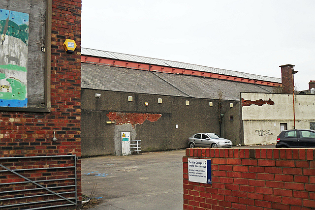 The former Drill Hall - side of building and car park