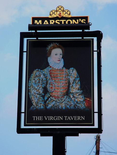The Virgin Tavern (3) - sign, Tolladine Road, Tolladine, Worcester
