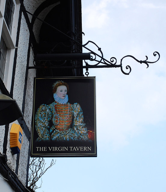 The Virgin Tavern (4) - sign, Tolladine Road, Tolladine, Worcester