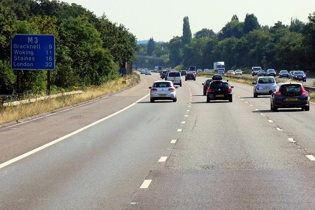 Eastbound M3, Frimley