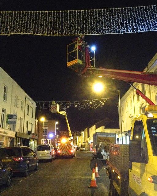 Hanging the Christmas lights, Regent Street, Leamington, 12 November 2013, 9:30pm