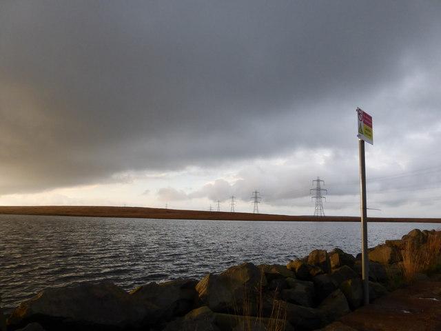 Blackstone Edge Reservoir, pylons and rainclouds