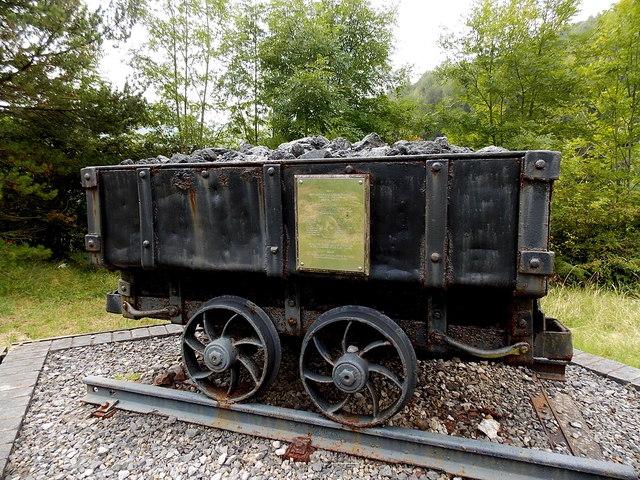 Coal dram detail in a memorial north of Lluest