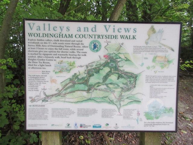 Woldingham Coutryside Walk information board