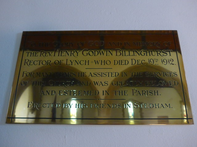St James, Stedham: memorial to a former incumbent (A)