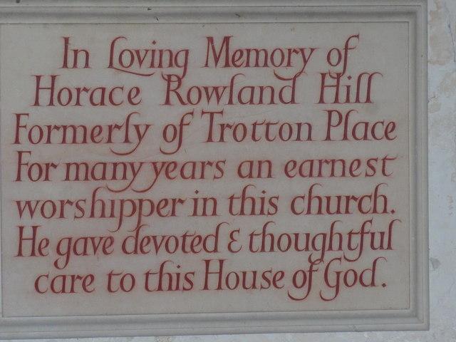 Saint George, Trotton: memorial to an earnest worshipper