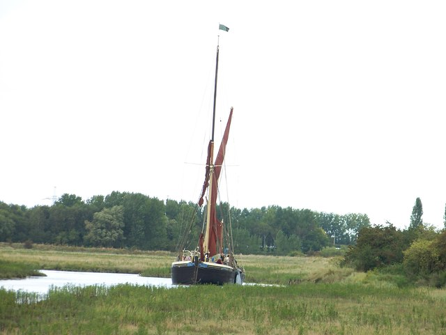 Motorised sailing ship coming up Faversham Creek
