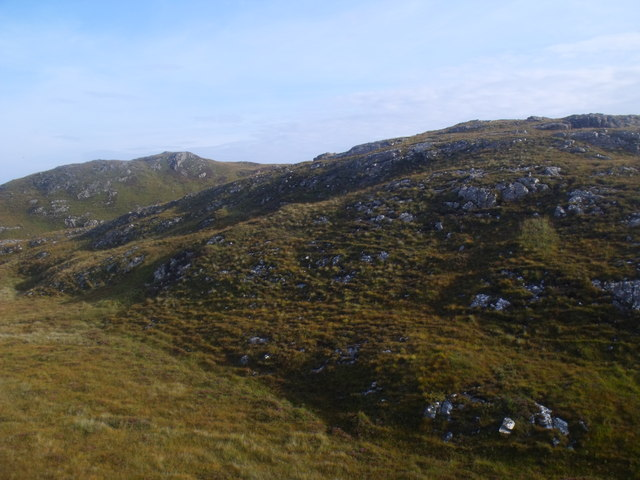Western extremity of Creag nan Sithean above Black Loch near Lochinver