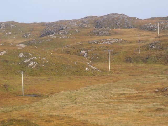 Power line on hillside near Lochinver