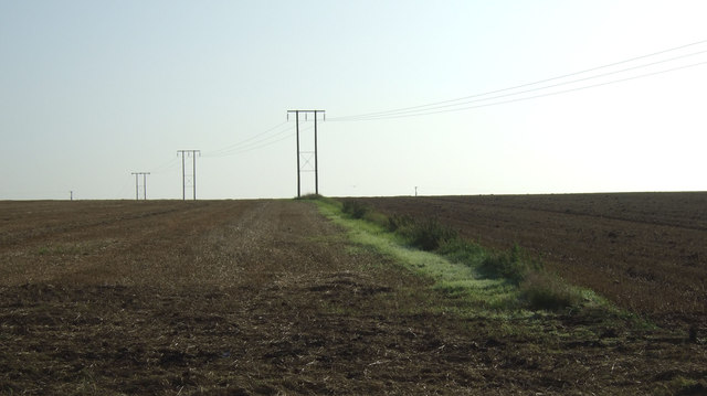 Field boundary and power lines, Thornholme Field