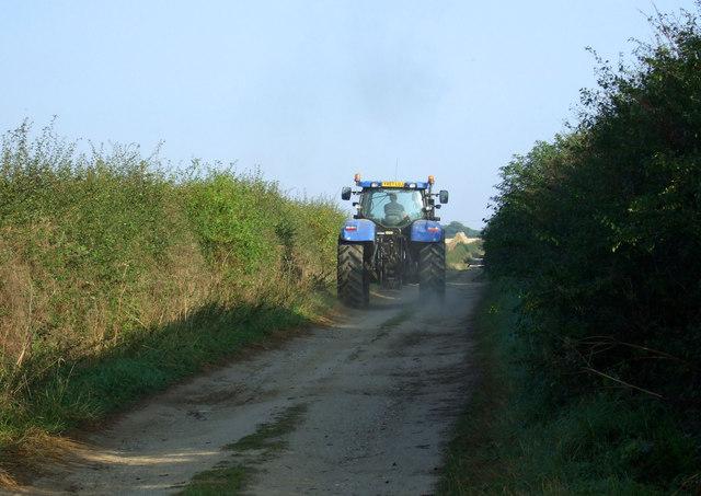 Tractor on green lane, Thornholme Field