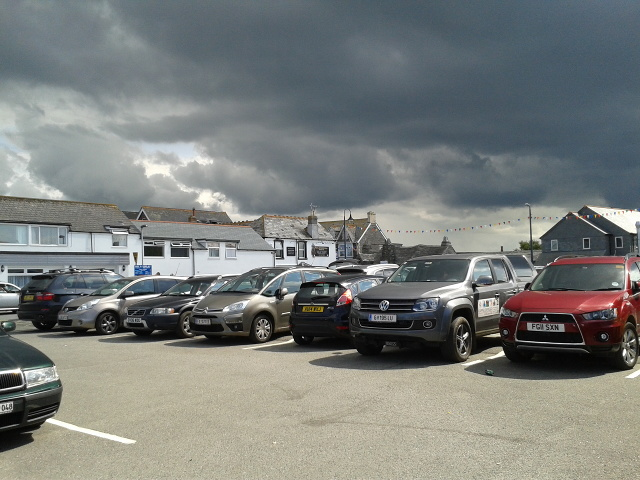 Car park in Tintagel with storm clouds