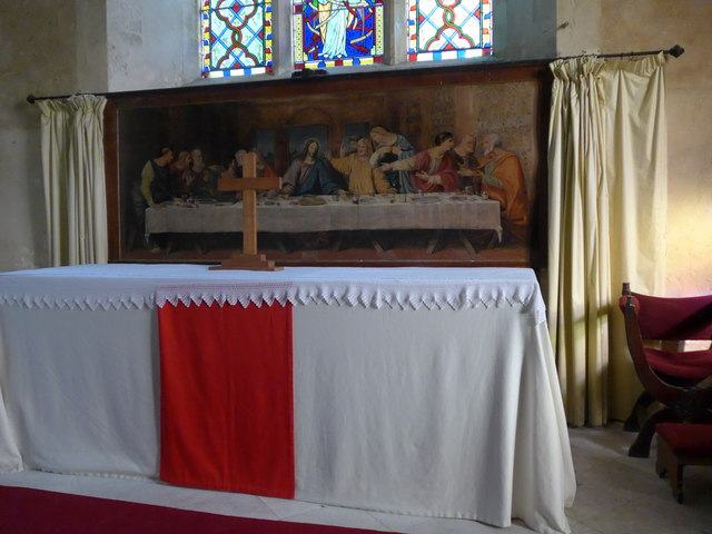 Saint George, Trotton: an appropriately coloured altar