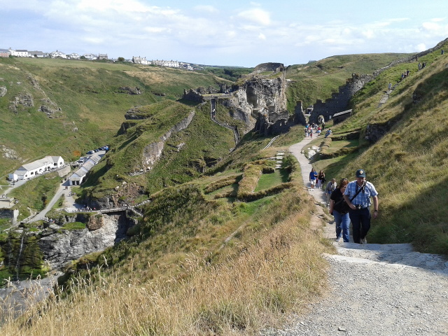 Tintagel castle with visitors