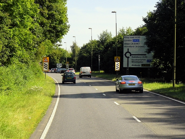 Basingstoke Ringway West approaching Winchester Road Roundabout