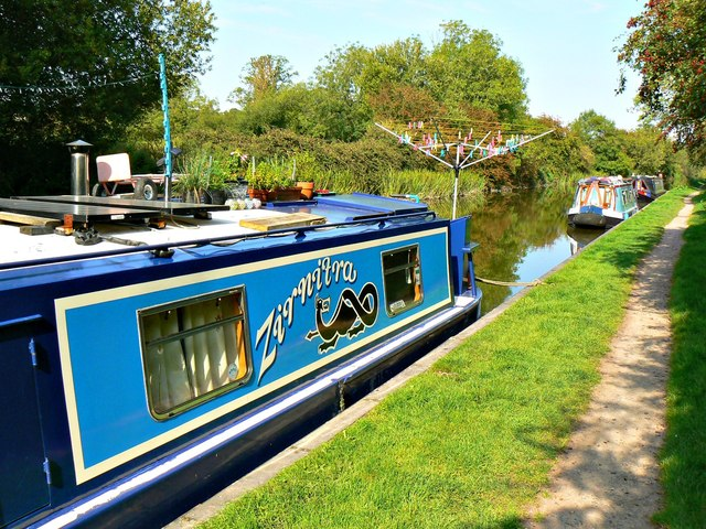 A closer look at 'Zirnitra' canal boat, Kennet and Avon Canal, Wootton Rivers, Wiltshire