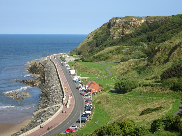 Marine  Drive  going  around  Castle  Cliffs