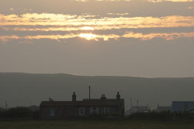 Sunset beyond Millbrae, Baltasound