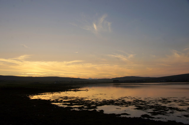 Sunset over the voe at Clingera, Baltasound