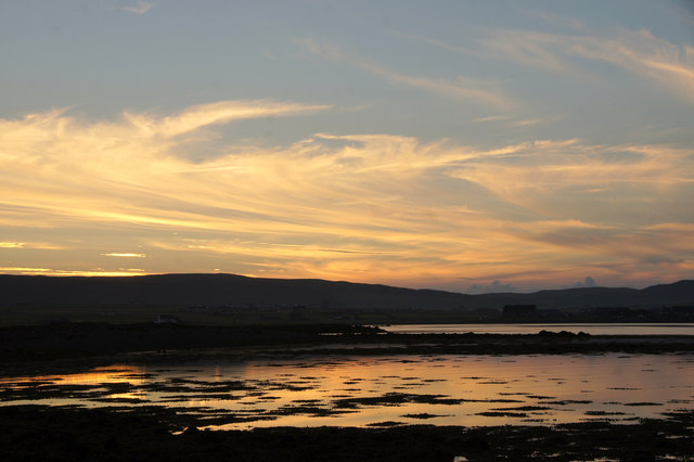 Sunset over the voe at Ordaal, Baltasound