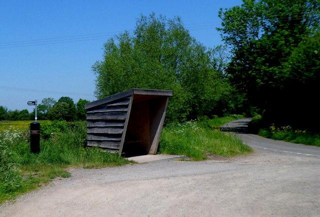 Wooden bus shelter south of Framilode