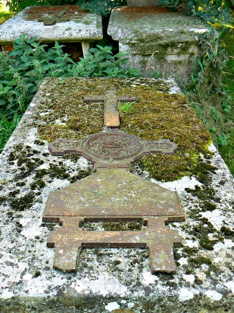 Stone and metal grave, St Andrew's Church, Wootton Rivers, Wiltshire