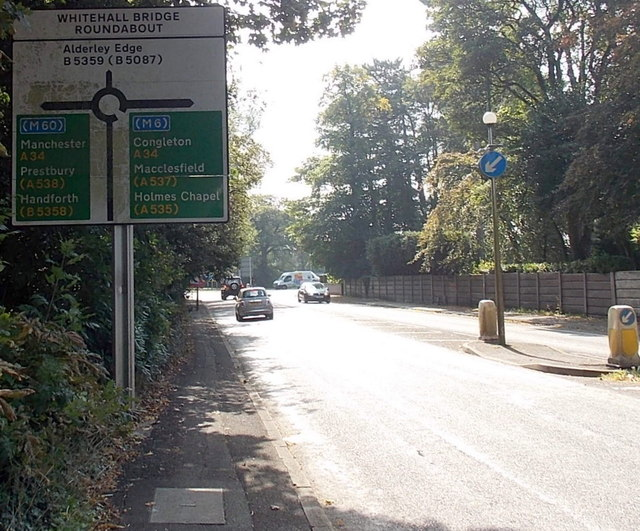 Whitehall Bridge Roundabout sign, Wilmslow