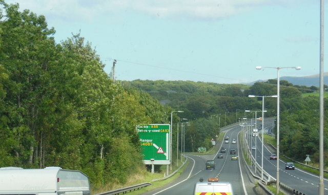 The A55 North Wales Expressway at  junction 10