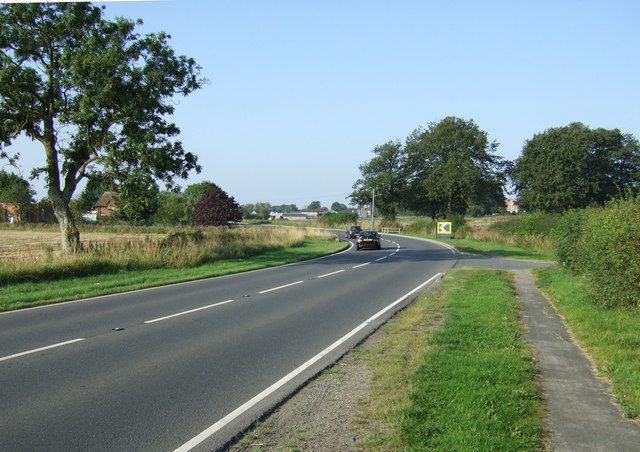 A bend in the A614