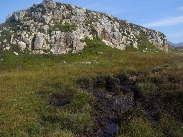 Deer wallow below rock outcrop north of Cnoc Breac near Lochinver