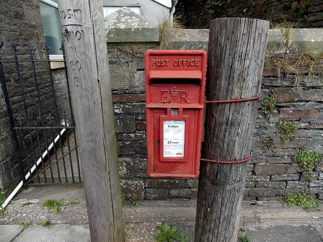 Queen Elizabeth II postbox on a post in Tylagwyn