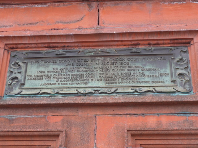 Plaque above the Greenwich entrance to the Thames Foot Tunnel
