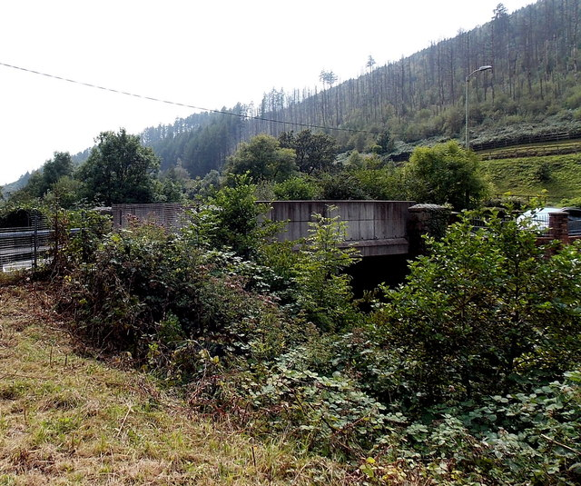 Side view of a road bridge over a former railway, Tylagwyn