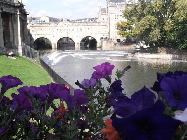 Pulteney Weir, Pulteney Bridge and Flowers, Bath