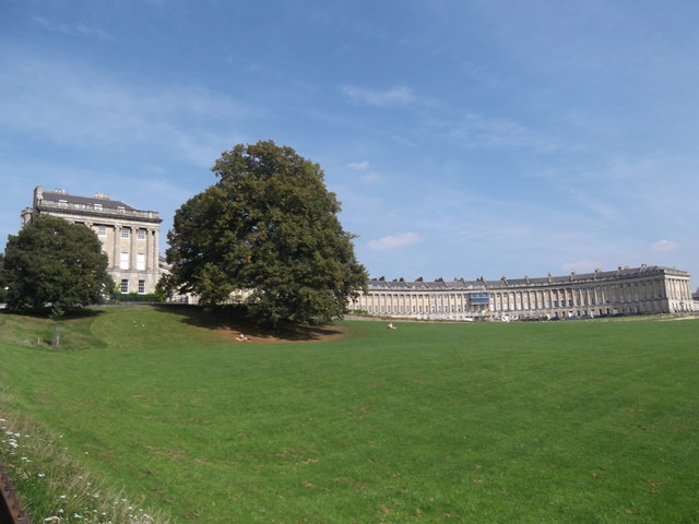 Royal Crescent from Royal Crescent Gardens, Bath
