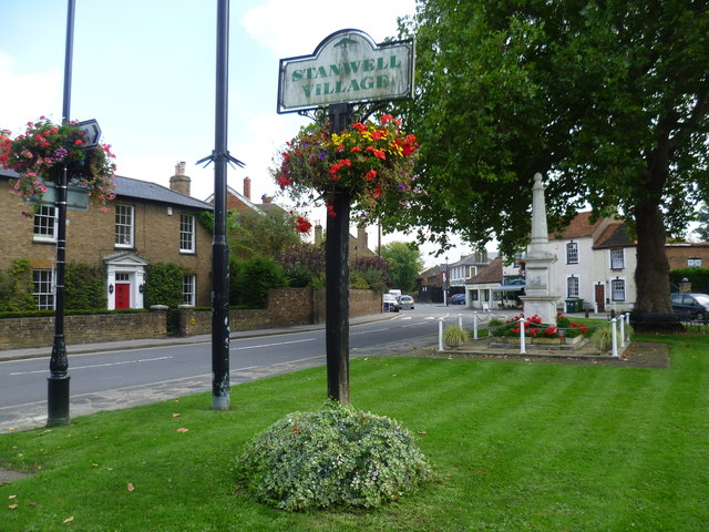 The village sign and war memorial, Stanwell