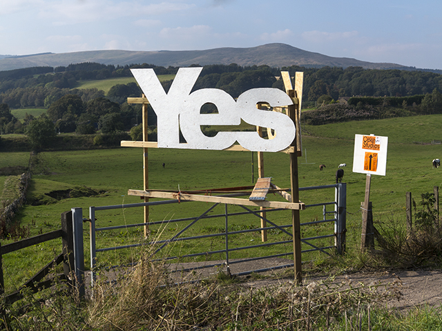 Roadside sign for Yes campaign