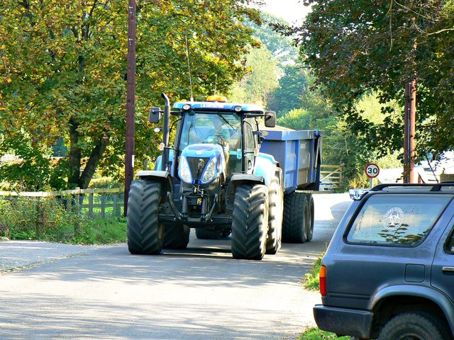 Tractor and trailer, Wootton Rivers, Wiltshire