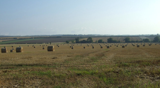 Stubble field with bales
