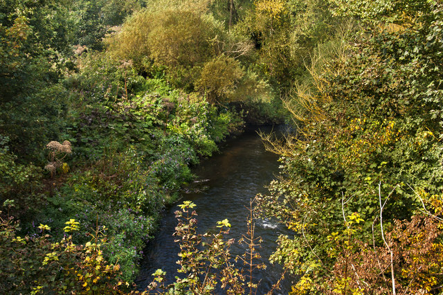 Looking down on the River Bollin from the Bridgewater Canal aqueduct
