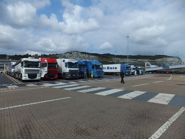 Commercial vehicles ready for the ferry to Calais