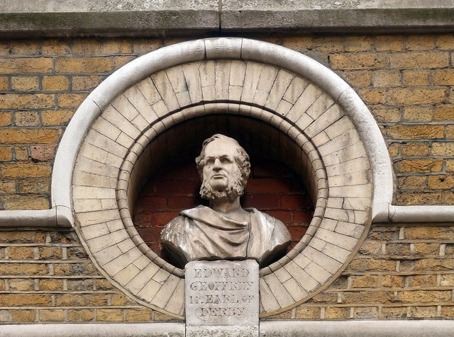 Bust of the 14th  Earl of Derby, Great Windmill Street