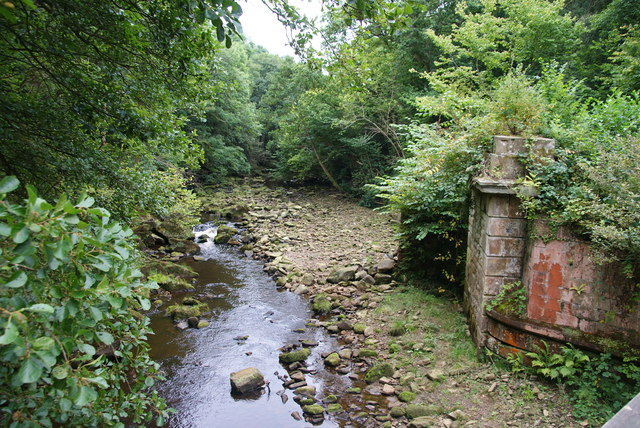 Remains of a former rail bridge by the Murk Esk