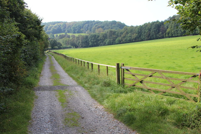 Track and footpath by Baston Hall