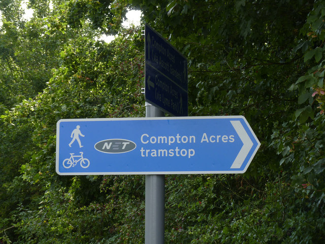 Sign to Compton Acres tram stop
