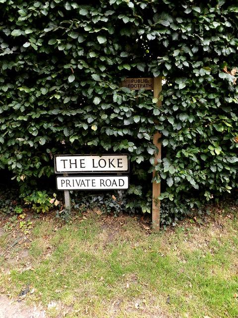 Footpath sign on The Loke