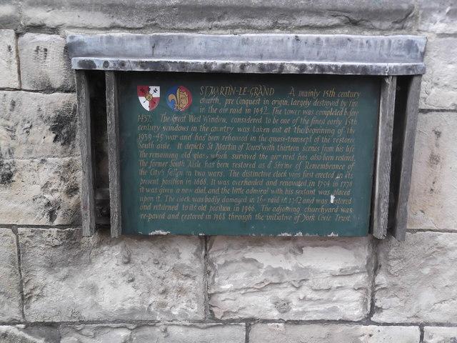 Plaque, St Martin le Grand, Coney Street, York