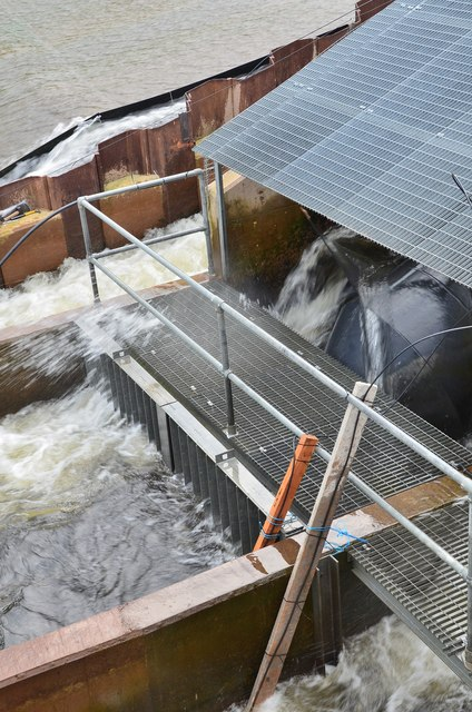 Discharge from water turbines, Murray's Cauld hydro plant