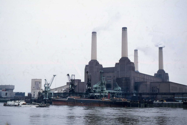 Battersea power station from a train