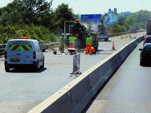 Roadworks on the M3